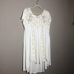 Free People lace trim jersey mini t-shirt dress